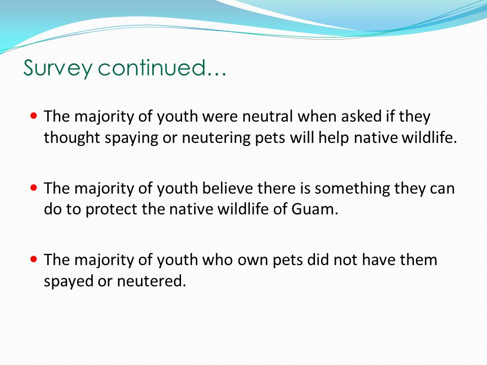 Survey continued… The majority of youth were neutral when asked if they thought spaying or neutering pets will help native wildlife.