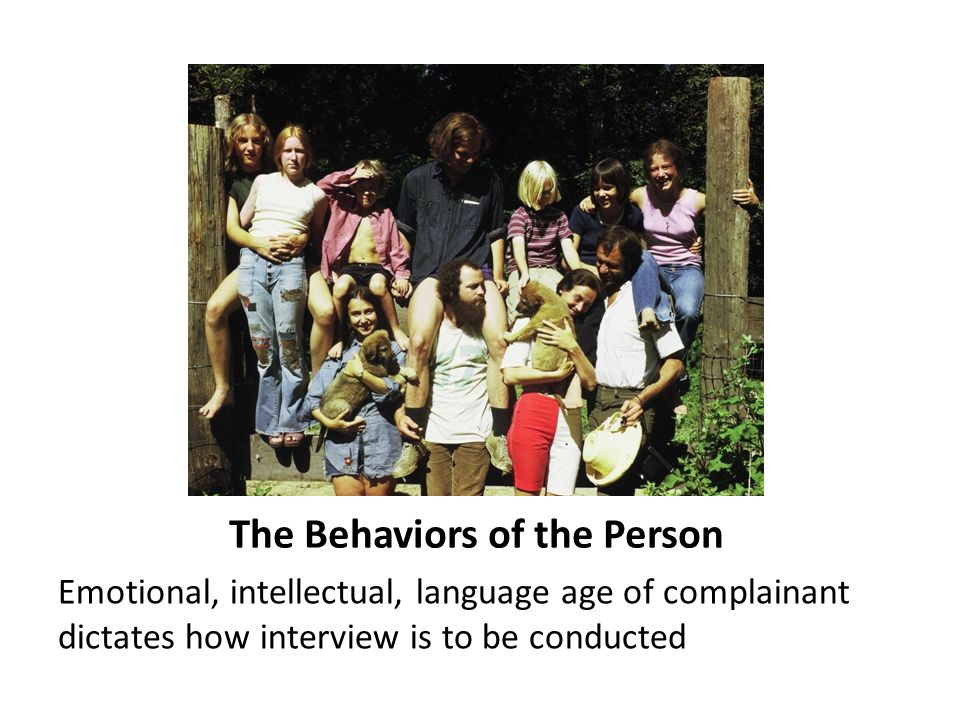 The Behaviors of the Person