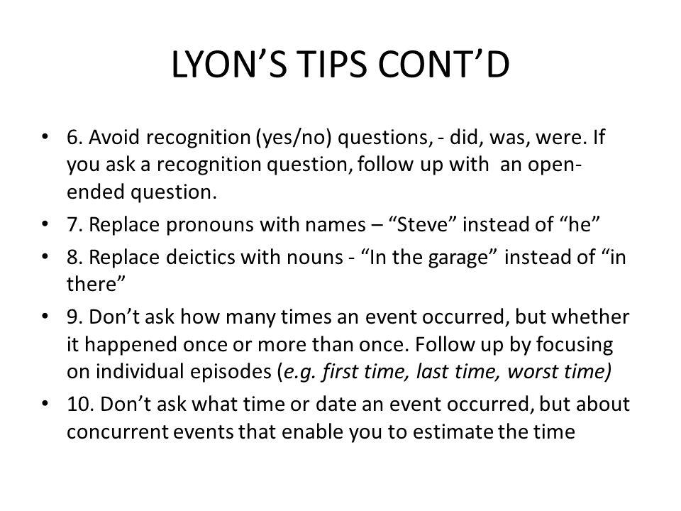 LYON'S TIPS CONT'D