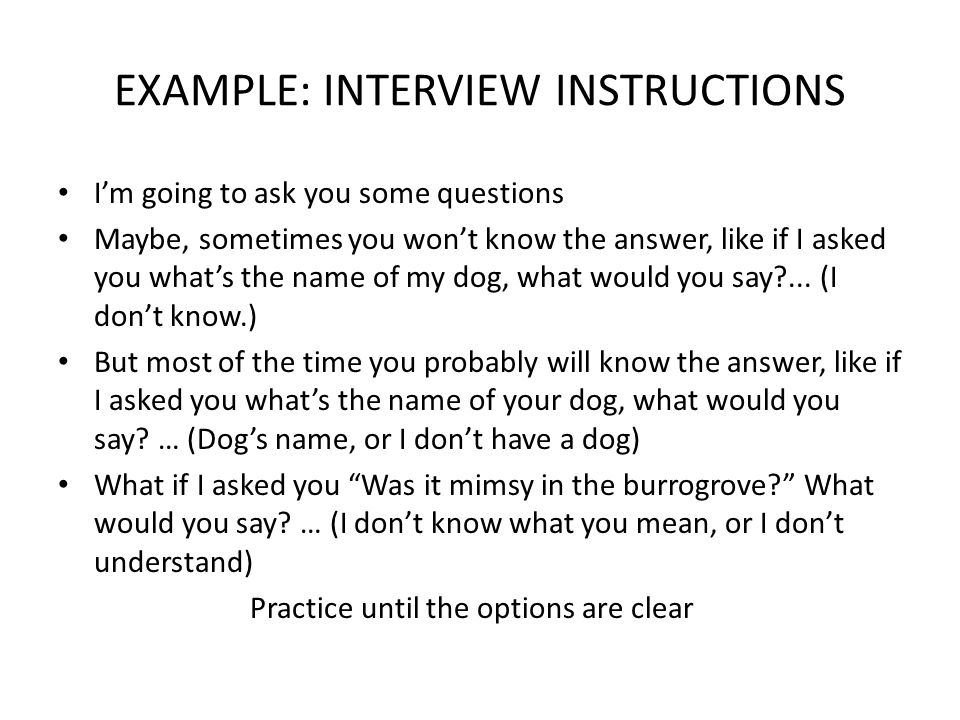 EXAMPLE: INTERVIEW INSTRUCTIONS