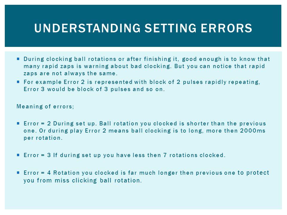 Understanding setting errors