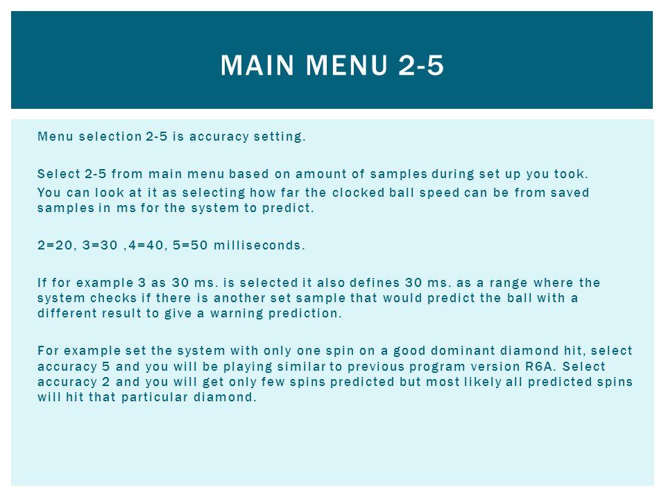 Main Menu 2-5