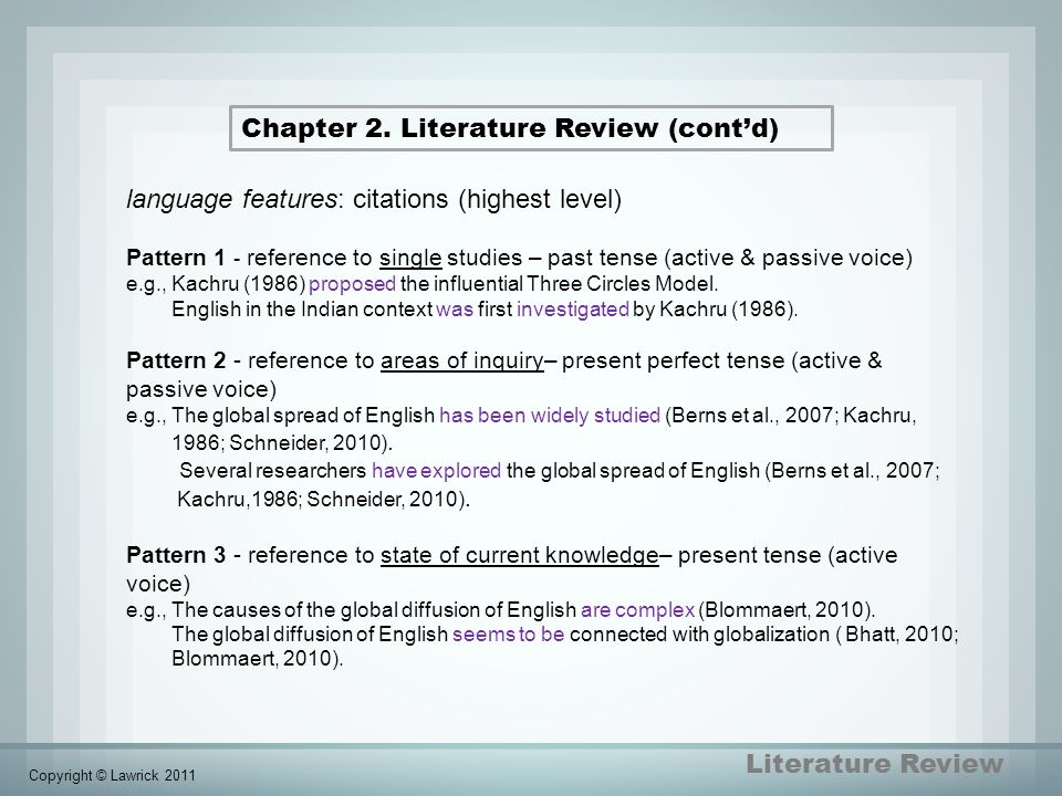 Chapter 2. Literature Review (cont'd)
