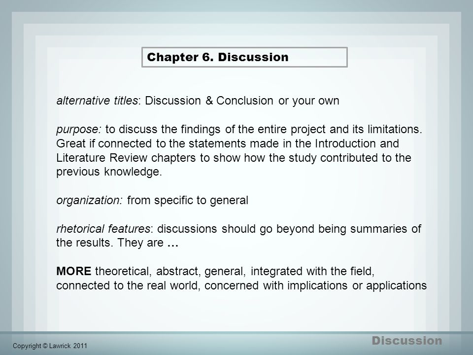 include discussion chapter dissertation