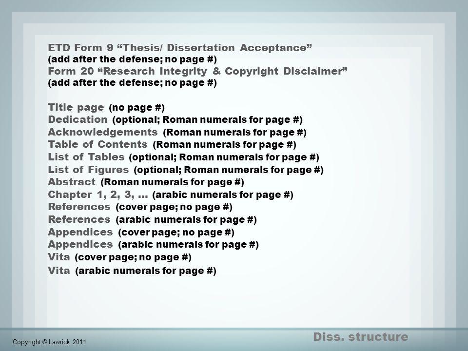 Diss. structure ETD Form 9 Thesis/ Dissertation Acceptance