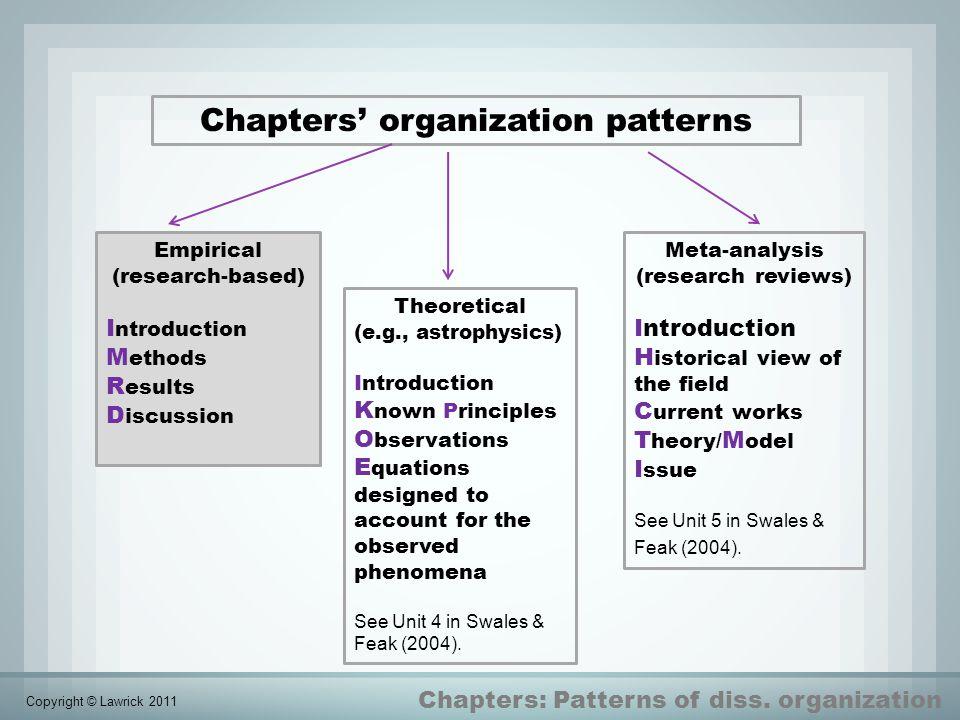 Chapters' organization patterns