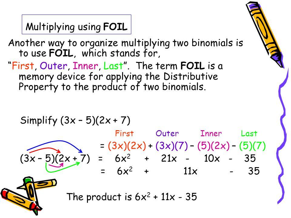 Multiplying using FOIL