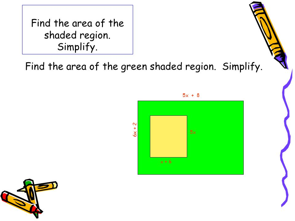 Find the area of the shaded region. Simplify.