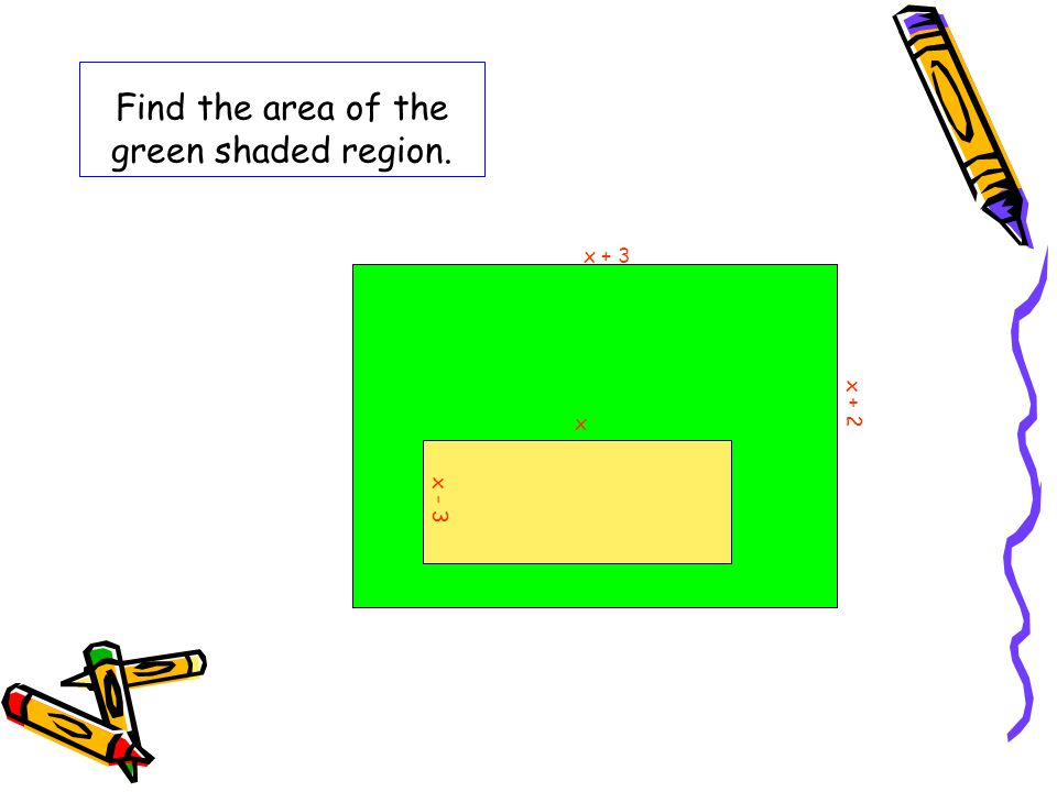 Find the area of the green shaded region.