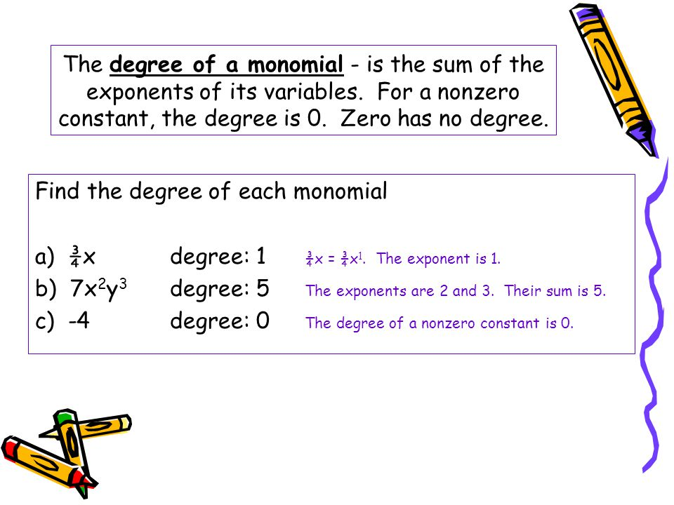 The degree of a monomial - is the sum of the exponents of its variables. For a nonzero constant, the degree is 0. Zero has no degree.