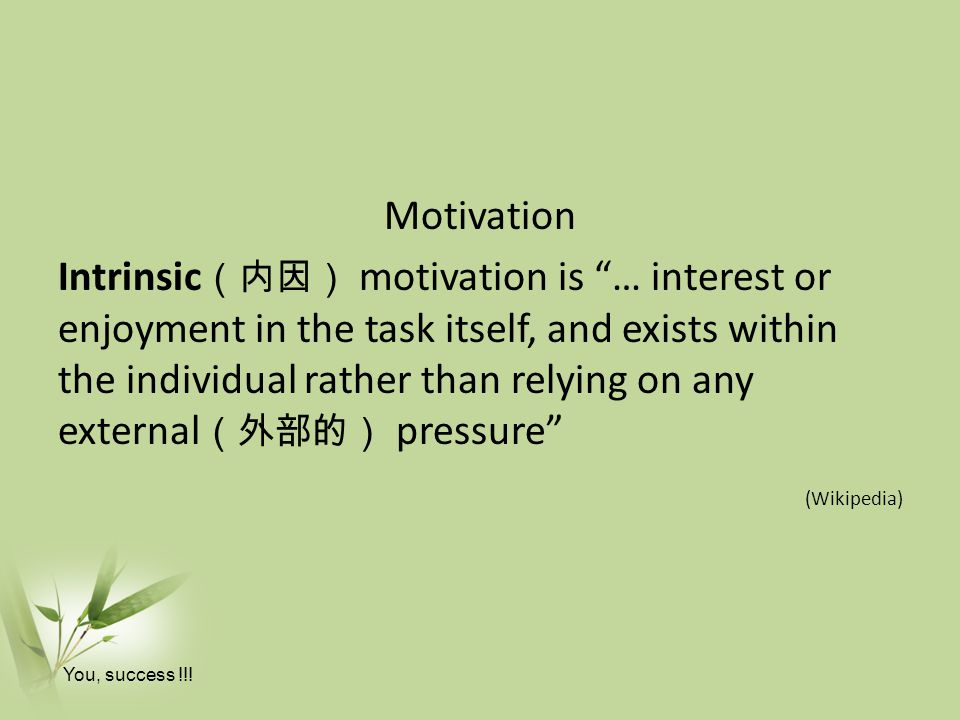 Motivation Intrinsic(内因) motivation is … interest or enjoyment in the task itself, and exists within the individual rather than relying on any external(外部的) pressure (Wikipedia)