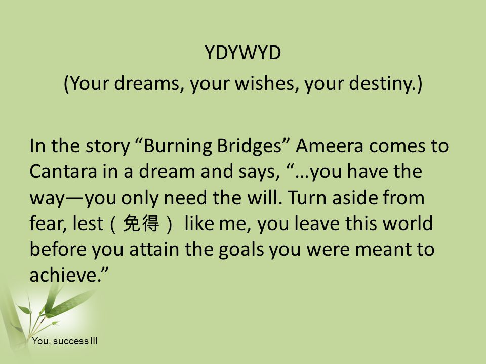 YDYWYD (Your dreams, your wishes, your destiny