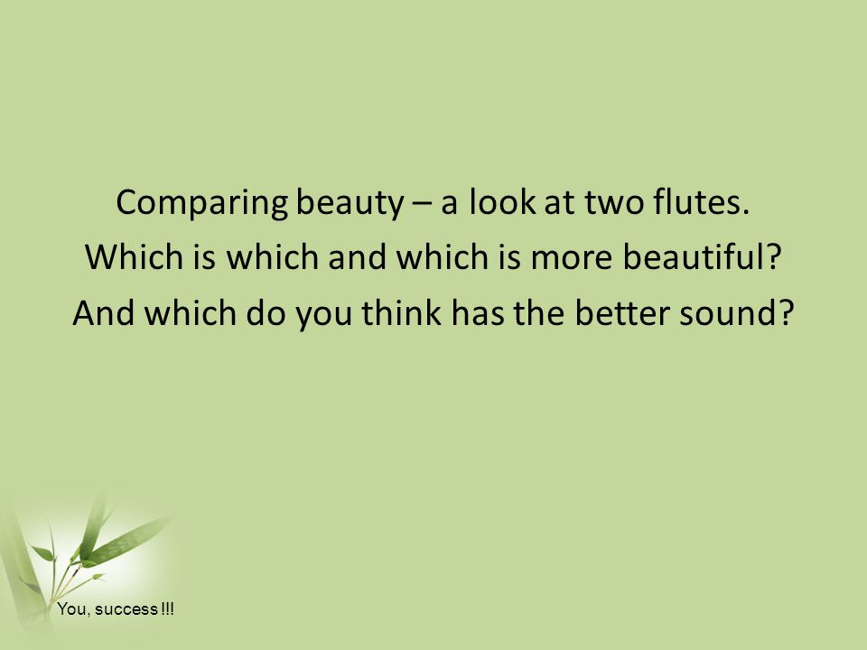 Comparing beauty – a look at two flutes