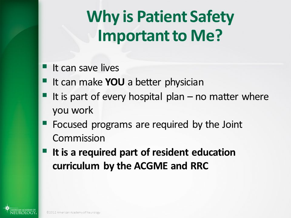 Why is Patient Safety Important to Me