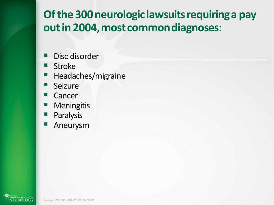 Of the 300 neurologic lawsuits requiring a pay out in 2004, most common diagnoses: