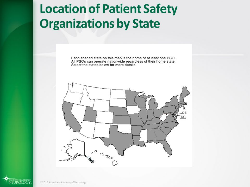 Location of Patient Safety Organizations by State