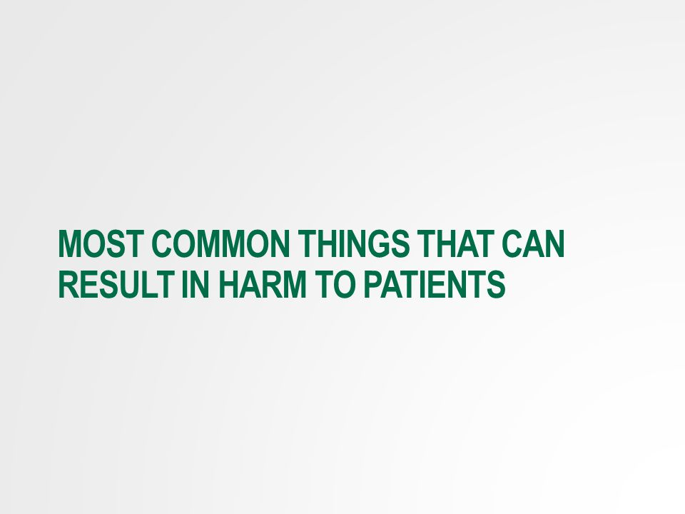 Most Common things that can result in harm to patients