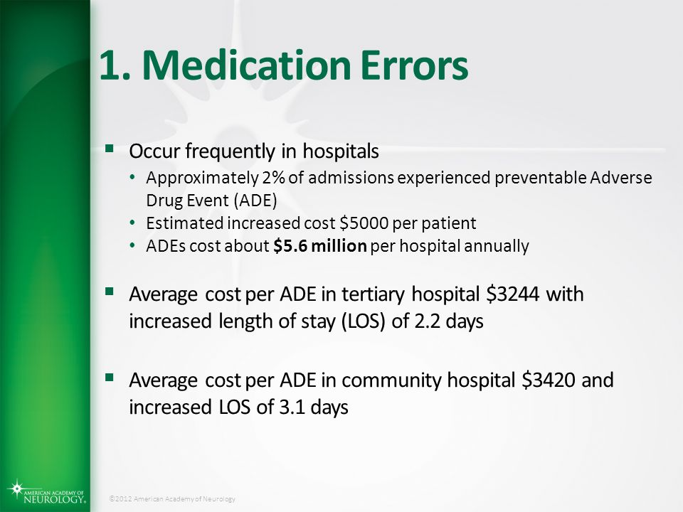 1. Medication Errors Occur frequently in hospitals