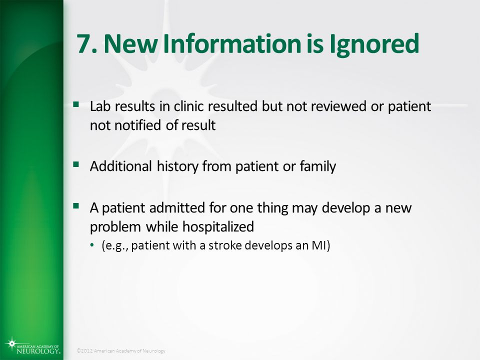 7. New Information is Ignored