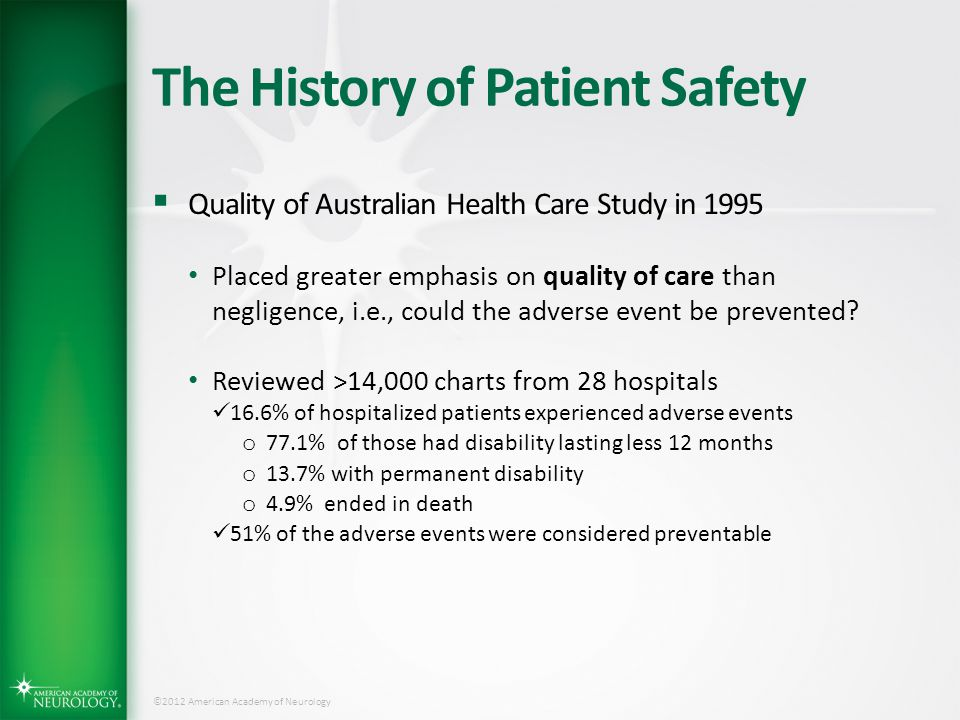 The History of Patient Safety