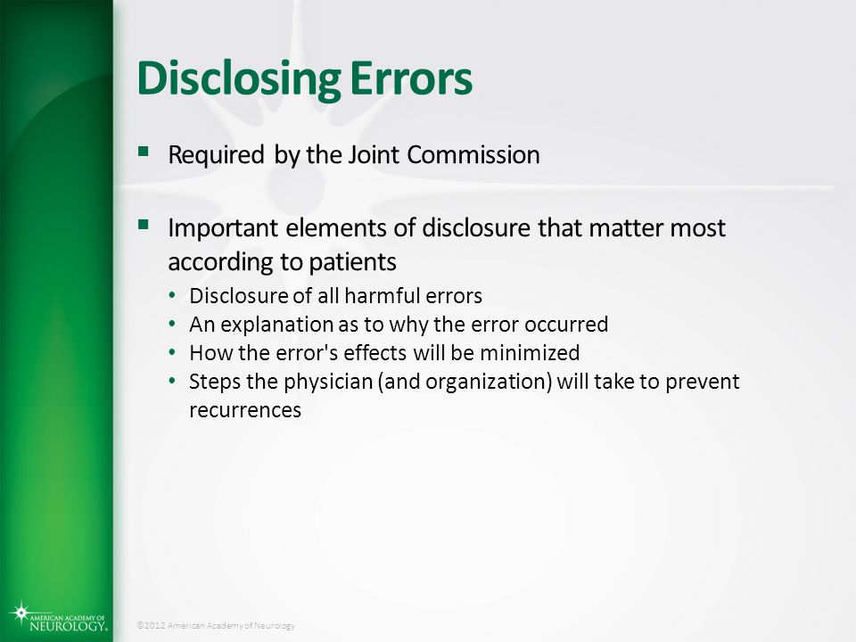 Disclosing Errors Required by the Joint Commission