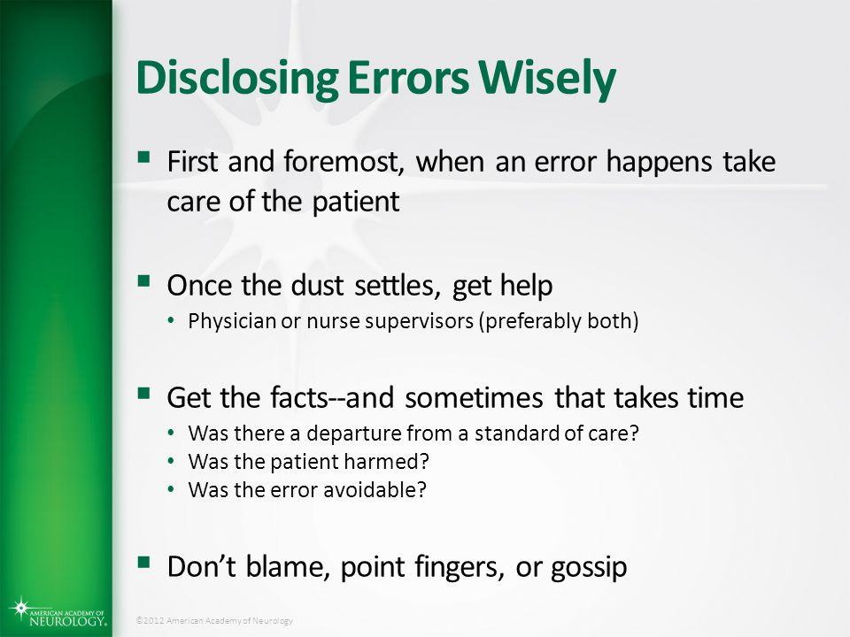 Disclosing Errors Wisely