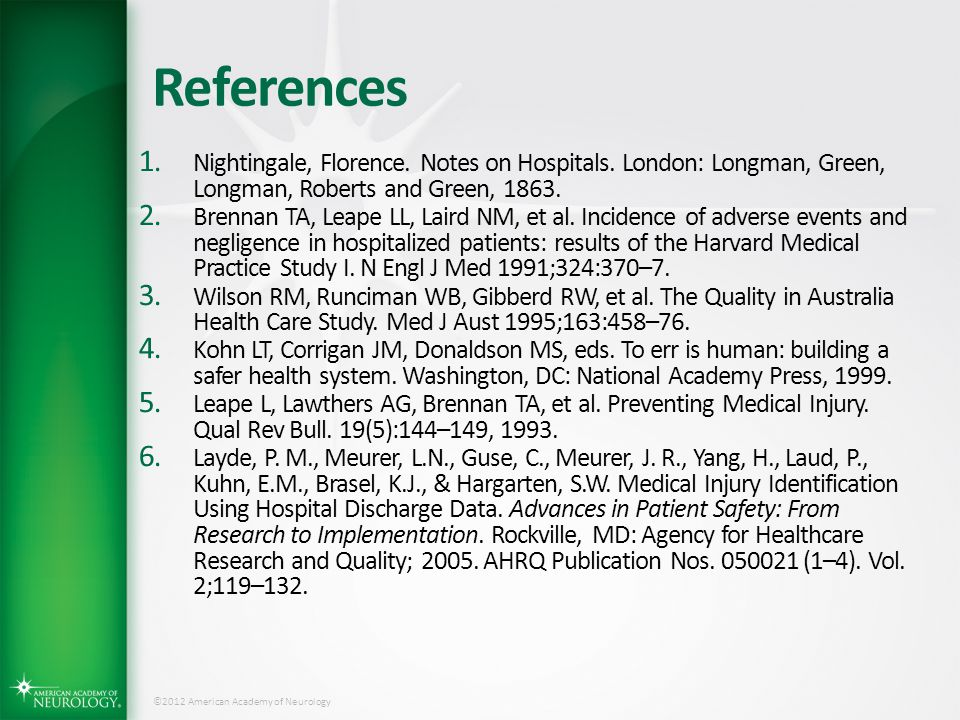 References Nightingale, Florence. Notes on Hospitals. London: Longman, Green, Longman, Roberts and Green, 1863.
