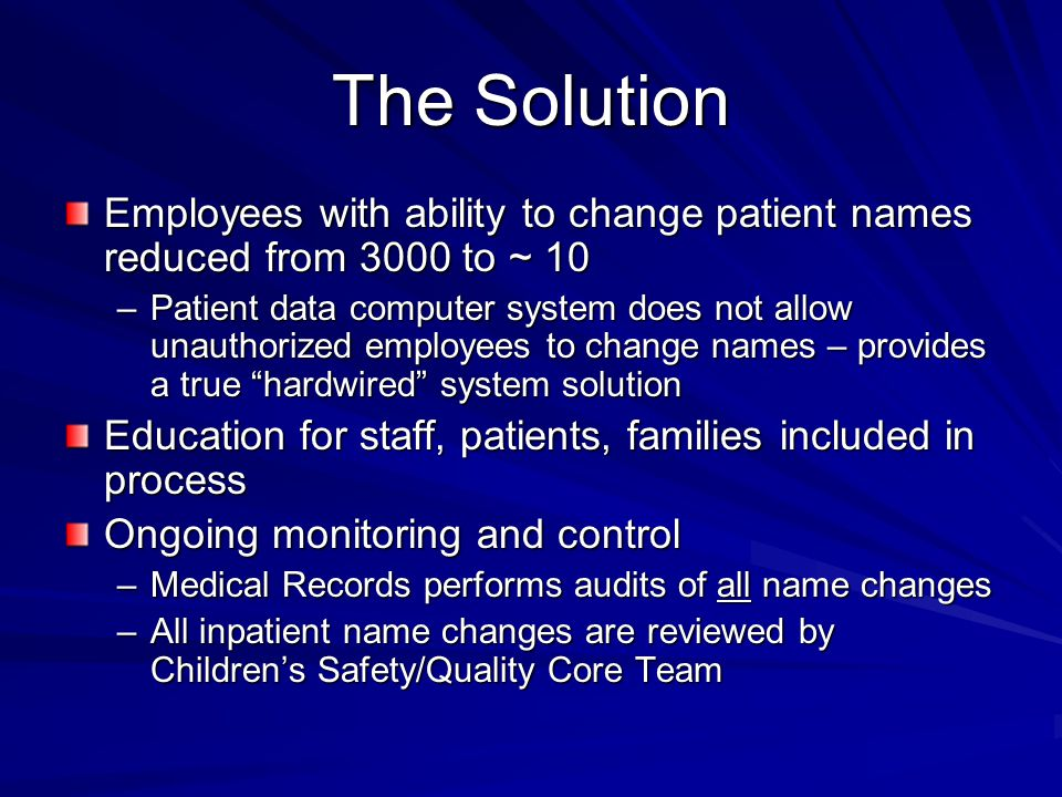 The Solution Employees with ability to change patient names reduced from 3000 to ~ 10.