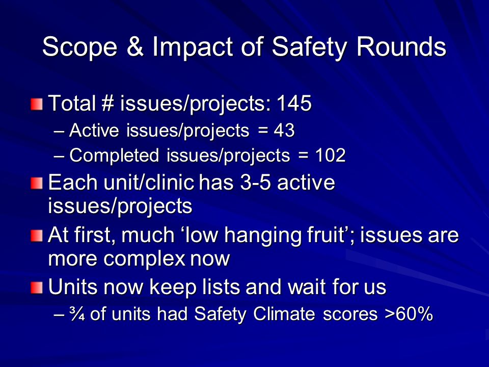 Scope & Impact of Safety Rounds