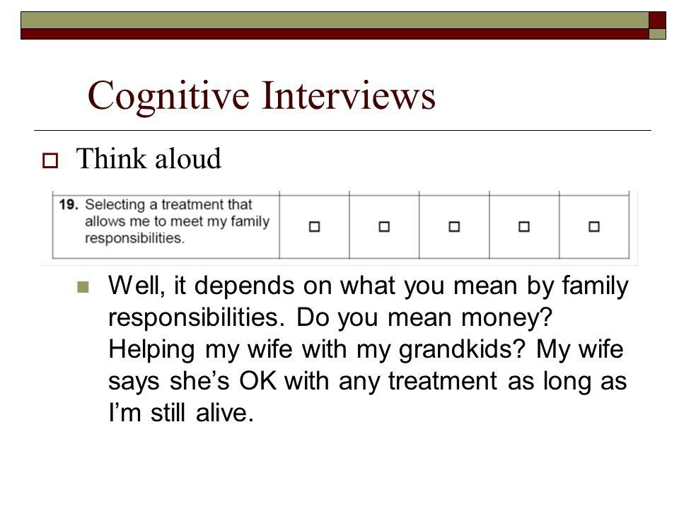 Cognitive Interviews Think aloud