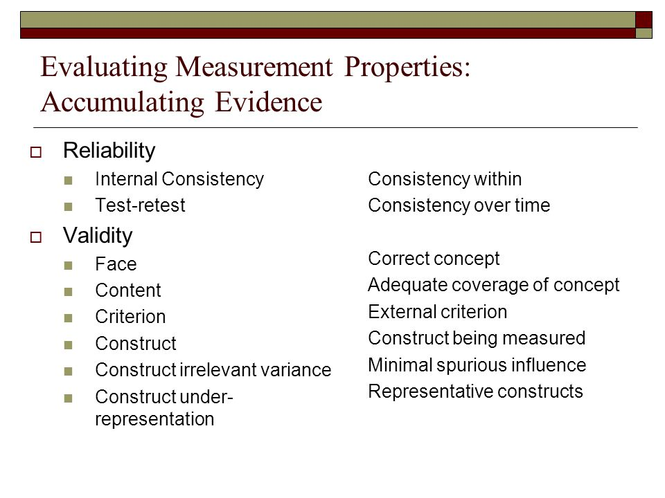 Evaluating Measurement Properties: Accumulating Evidence