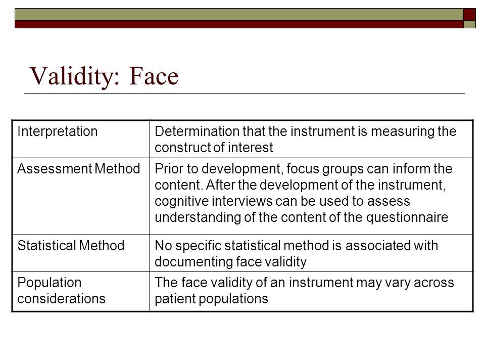 Validity: Face Interpretation