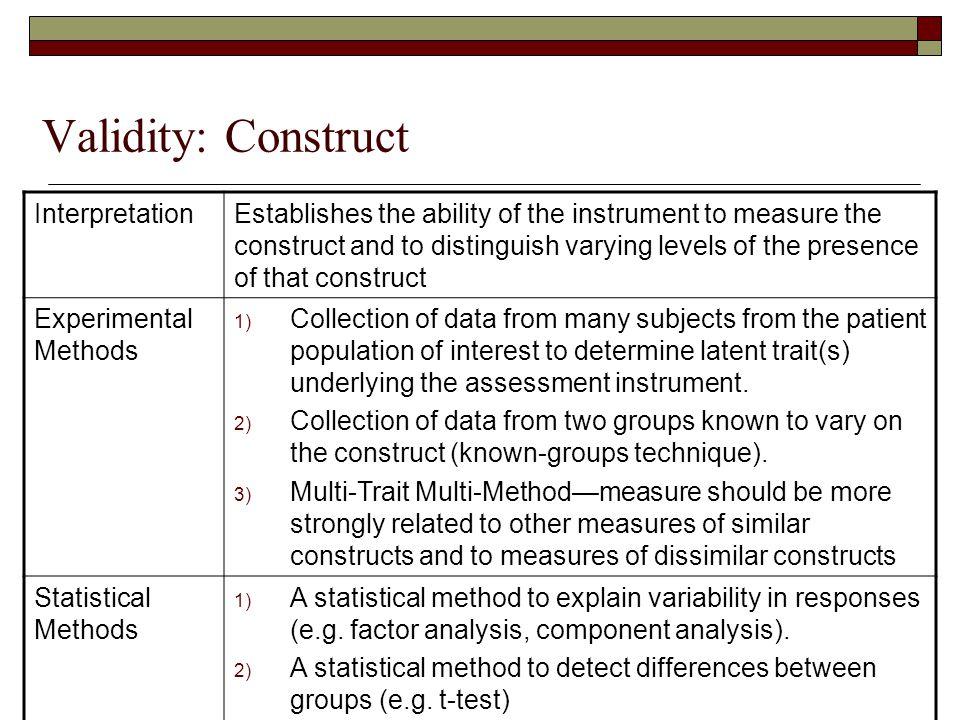 Validity: Construct Interpretation