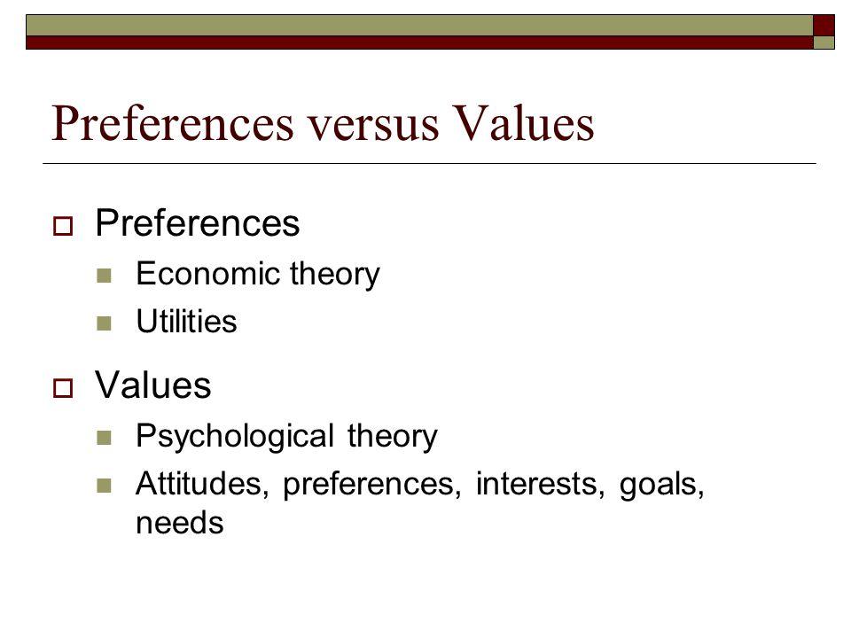 Preferences versus Values