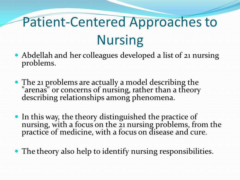 Patient-Centered Approaches to Nursing
