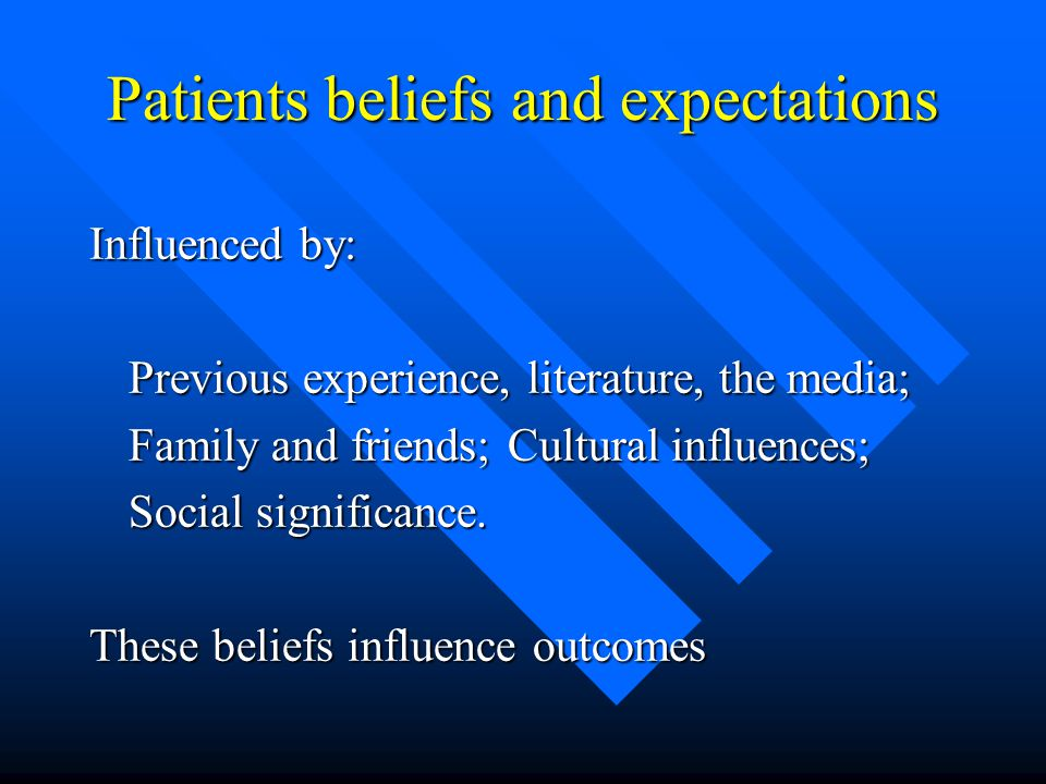 Patients beliefs and expectations