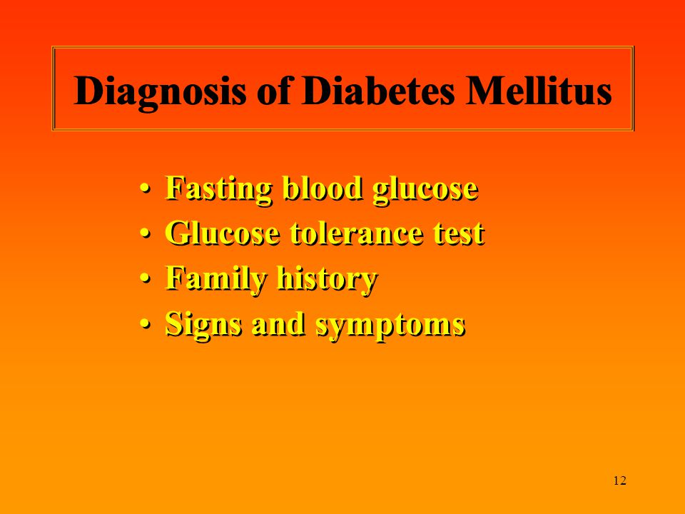 Diagnosis of Diabetes Mellitus