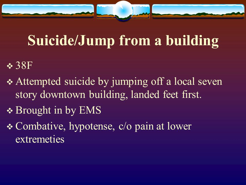 Suicide/Jump from a building
