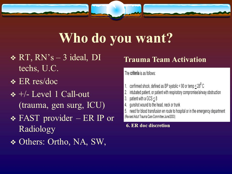 Who do you want RT, RN's – 3 ideal, DI techs, U.C. ER res/doc