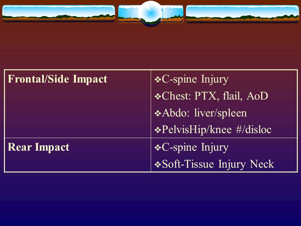 Frontal/Side Impact C-spine Injury. Chest: PTX, flail, AoD. Abdo: liver/spleen. PelvisHip/knee #/disloc.