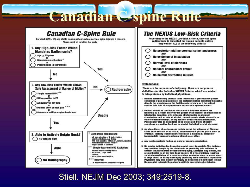 Canadian C-spine Rule Stiell. NEJM Dec 2003; 349:2519-8.