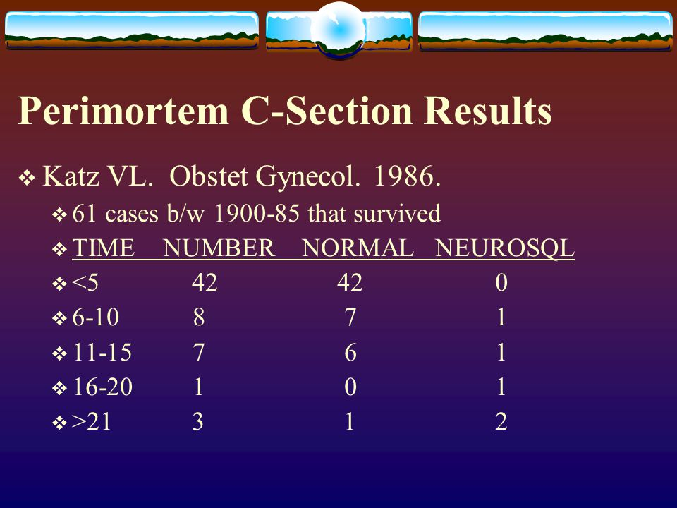 Perimortem C-Section Results
