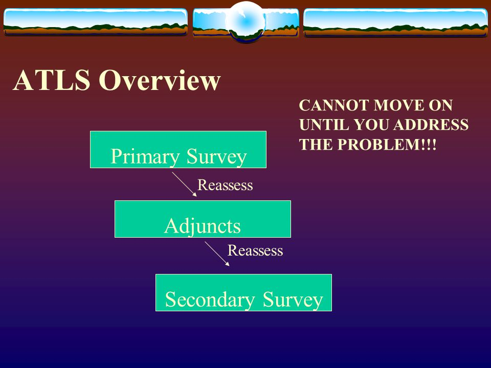 ATLS Overview Primary Survey Adjuncts Secondary Survey CANNOT MOVE ON
