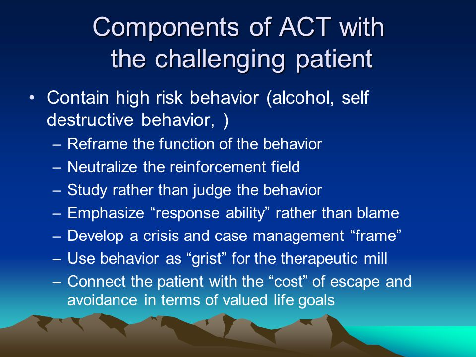 Components of ACT with the challenging patient