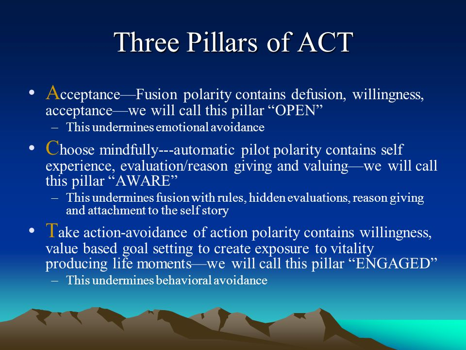 Three Pillars of ACT Acceptance—Fusion polarity contains defusion, willingness, acceptance—we will call this pillar OPEN