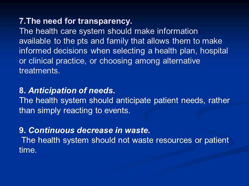 7. The need for transparency