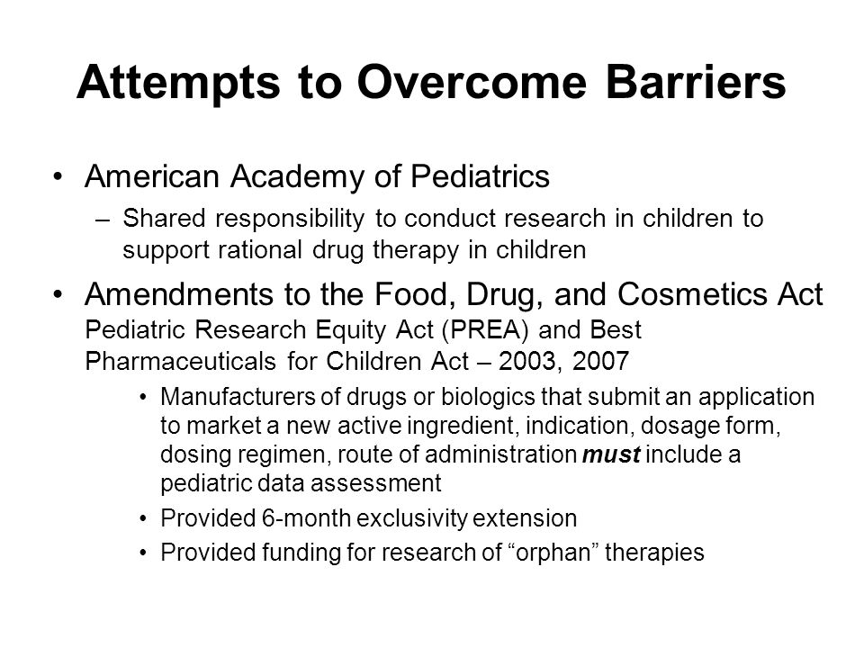 Attempts to Overcome Barriers