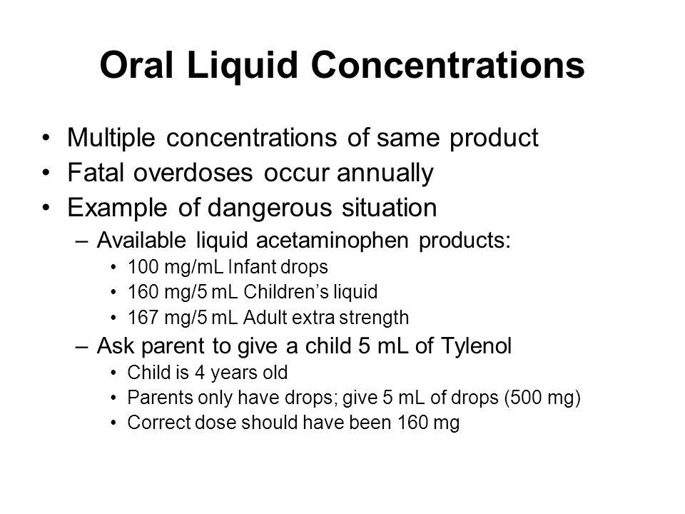 Oral Liquid Concentrations