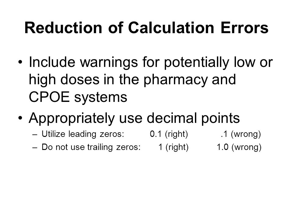 Reduction of Calculation Errors