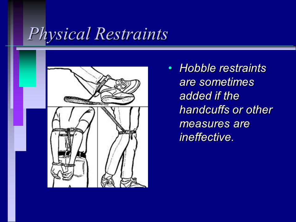 Physical Restraints Hobble restraints are sometimes added if the handcuffs or other measures are ineffective.